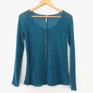 Free People Half Button Henley Shirt XS